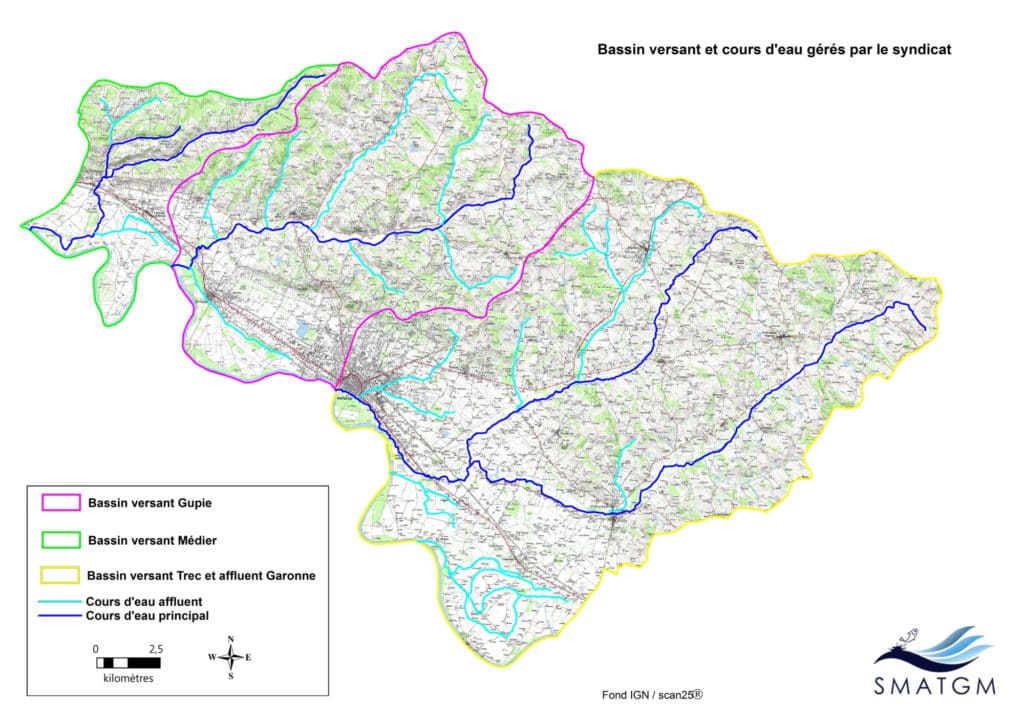 Bassin versant et cours d'eau gérés par le syndicat
