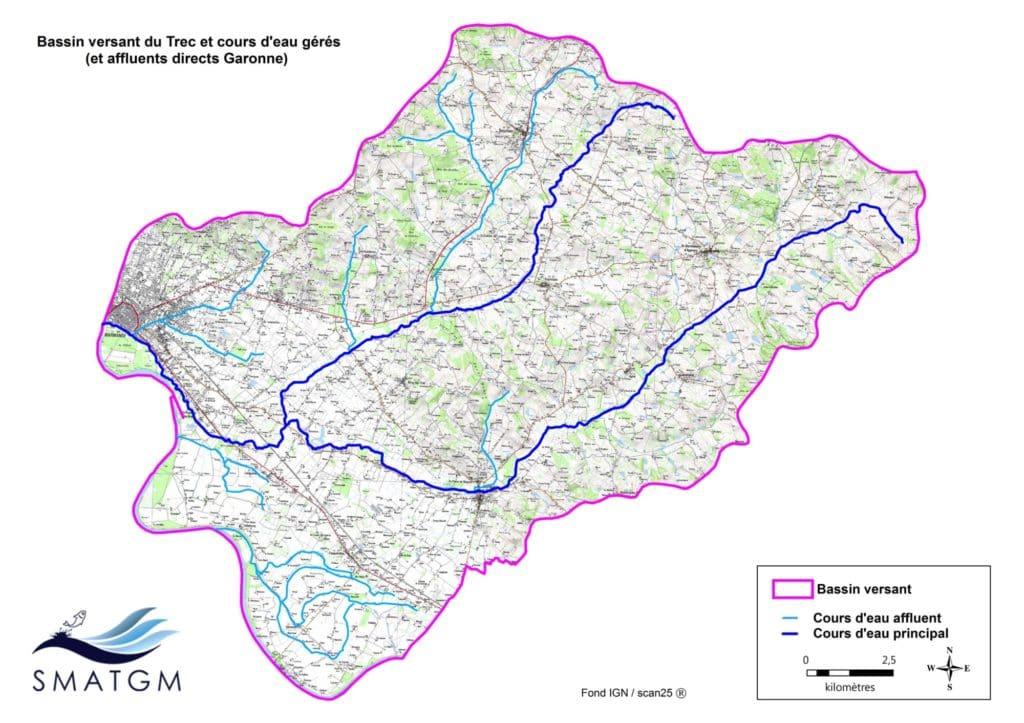 Bassin versant du Trec et affluents directs Garonne