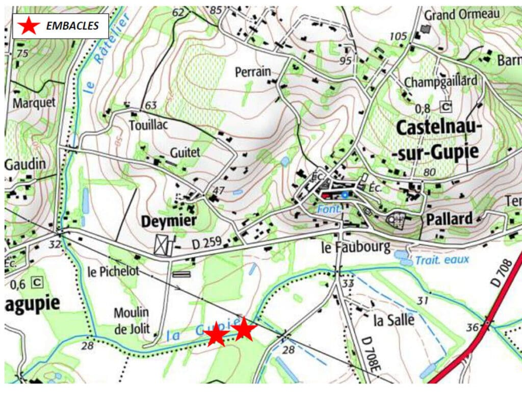 Carte site 1 La Gupie